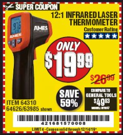 Harbor Freight Coupon 12:1 INFRARED LASER THERMOMETER Lot No. 64310/64626/63985 Expired: 12/14/19 - $19.99