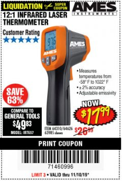 Harbor Freight Coupon 12:1 INFRARED LASER THERMOMETER Lot No. 64310/64626/63985 Expired: 11/10/19 - $17.99