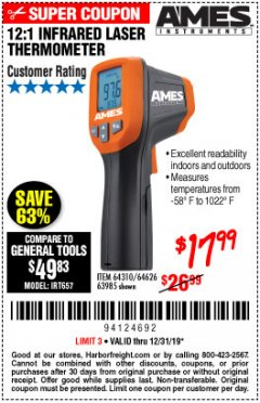 Harbor Freight Coupon 12:1 INFRARED LASER THERMOMETER Lot No. 64310/64626/63985 Expired: 12/31/19 - $17.99