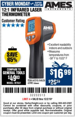 Harbor Freight Coupon 12:1 INFRARED LASER THERMOMETER Lot No. 64310/64626/63985 Expired: 12/1/19 - $16.99