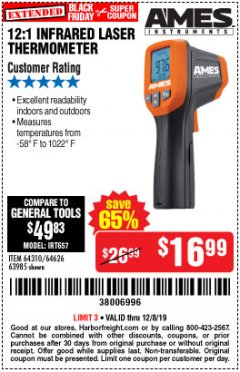 Harbor Freight Coupon 12:1 INFRARED LASER THERMOMETER Lot No. 64310/64626/63985 Expired: 12/8/19 - $16.99