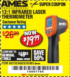 Harbor Freight Coupon 12:1 INFRARED LASER THERMOMETER Lot No. 64310/64626/63985 Expired: 2/4/20 - $19.99