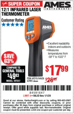 Harbor Freight Coupon 12:1 INFRARED LASER THERMOMETER Lot No. 64310/64626/63985 Expired: 1/1/20 - $17.99
