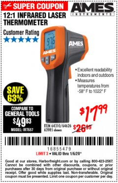 Harbor Freight Coupon 12:1 INFRARED LASER THERMOMETER Lot No. 64310/64626/63985 Expired: 1/6/20 - $17.99