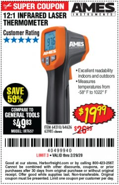 Harbor Freight Coupon 12:1 INFRARED LASER THERMOMETER Lot No. 64310/64626/63985 Valid Thru: 2/29/20 - $19.99