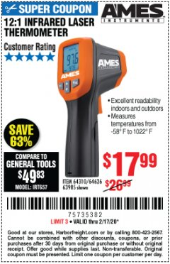 Harbor Freight Coupon 12:1 INFRARED LASER THERMOMETER Lot No. 64310/64626/63985 Valid Thru: 2/17/20 - $17.99