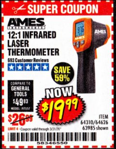 Harbor Freight Coupon 12:1 INFRARED LASER THERMOMETER Lot No. 64310/64626/63985 Expired: 3/31/20 - $19.99