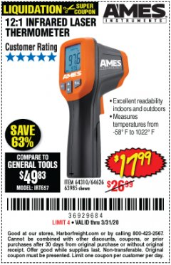 Harbor Freight Coupon 12:1 INFRARED LASER THERMOMETER Lot No. 64310/64626/63985 Expired: 3/31/20 - $17.99
