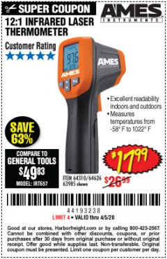 Harbor Freight Coupon 12:1 INFRARED LASER THERMOMETER Lot No. 64310/64626/63985 EXPIRES: 6/30/20 - $17.99