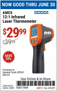 Harbor Freight Coupon 12:1 INFRARED LASER THERMOMETER Lot No. 64310/64626/63985 Expired: 6/30/20 - $29.99
