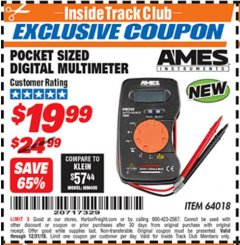 Harbor Freight ITC Coupon POCKET SIZED DIGITAL MULTIMETER Lot No. 64018 Expired: 12/31/18 - $19.99
