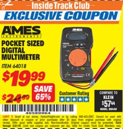Harbor Freight ITC Coupon POCKET SIZED DIGITAL MULTIMETER Lot No. 64018 Expired: 3/31/19 - $19.99