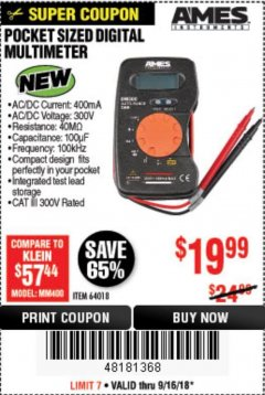 Harbor Freight Coupon POCKET SIZED DIGITAL MULTIMETER Lot No. 64018 Expired: 9/16/18 - $19.99