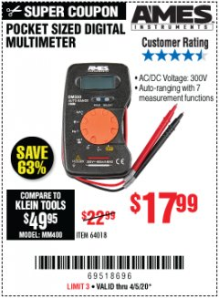 Harbor Freight Coupon POCKET SIZED DIGITAL MULTIMETER Lot No. 64018 EXPIRES: 6/30/20 - $17.99