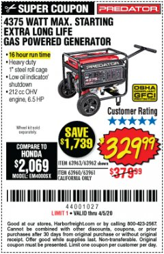 Harbor Freight Coupon 4375 MAX STARTING/3500 RUNNING WATTS, 6.5 HP (212CC) GAS GENERATOR Lot No. 63962/63963/63960/63961 EXPIRES: 6/30/20 - $329.99