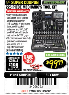 Harbor Freight Coupon 225 PIECE MECHANIC'S TOOL KIT Lot No. 64367/62664 Expired: 11/30/18 - $99.99