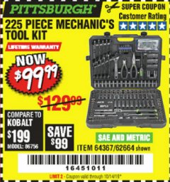 Harbor Freight Coupon 225 PIECE MECHANIC'S TOOL KIT Lot No. 64367/62664 Expired: 10/14/19 - $99.99