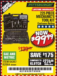 Harbor Freight Coupon 225 PIECE MECHANIC'S TOOL KIT Lot No. 64367/62664 Expired: 12/14/19 - $99.99
