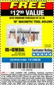 "Harbor Freight FREE Coupon 18"" MAGNETIC TOOL HOLDER Lot No. 65489/60433/61199/62178 Expired: 7/10/16 - FWP"