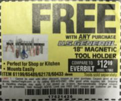 "Harbor Freight FREE Coupon 18"" MAGNETIC TOOL HOLDER Lot No. 65489/60433/61199/62178 Expired: 4/3/18 - FWP"