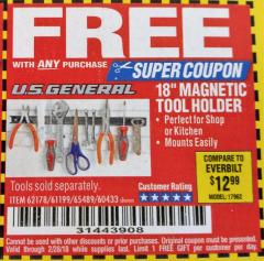 "Harbor Freight FREE Coupon 18"" MAGNETIC TOOL HOLDER Lot No. 65489/60433/61199/62178 Expired: 2/28/18 - FWP"