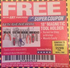 "Harbor Freight FREE Coupon 18"" MAGNETIC TOOL HOLDER Lot No. 65489/60433/61199/62178 Expired: 5/31/18 - FWP"