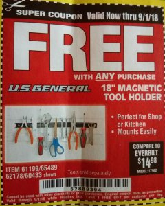 "Harbor Freight FREE Coupon 18"" MAGNETIC TOOL HOLDER Lot No. 65489/60433/61199/62178 Expired: 9/1/18 - FWP"