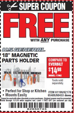 "Harbor Freight FREE Coupon 18"" MAGNETIC TOOL HOLDER Lot No. 65489/60433/61199/62178 Expired: 11/1/18 - FWP"