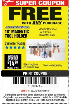 "Harbor Freight FREE Coupon 18"" MAGNETIC TOOL HOLDER Lot No. 65489/60433/61199/62178 Expired: 11/4/18 - FWP"