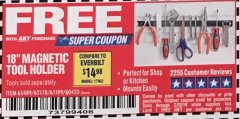 "Harbor Freight FREE Coupon 18"" MAGNETIC TOOL HOLDER Lot No. 65489/60433/61199/62178 Expired: 2/28/19 - FWP"