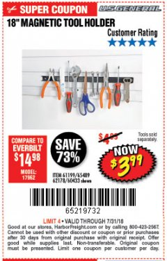 "Harbor Freight Coupon 18"" MAGNETIC TOOL HOLDER Lot No. 65489/60433/61199/62178 Expired: 7/31/18 - $3.99"
