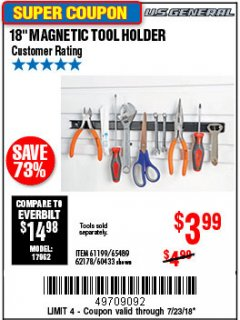 "Harbor Freight Coupon 18"" MAGNETIC TOOL HOLDER Lot No. 65489/60433/61199/62178 Expired: 7/23/18 - $3.99"