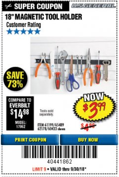 "Harbor Freight Coupon 18"" MAGNETIC TOOL HOLDER Lot No. 65489/60433/61199/62178 Expired: 9/30/18 - $3.99"