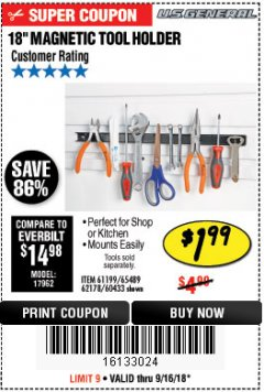 "Harbor Freight Coupon 18"" MAGNETIC TOOL HOLDER Lot No. 65489/60433/61199/62178 Expired: 9/16/18 - $1.99"