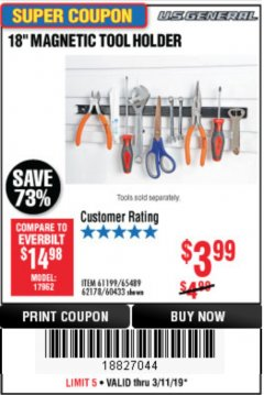 "Harbor Freight Coupon 18"" MAGNETIC TOOL HOLDER Lot No. 65489/60433/61199/62178 Expired: 3/31/19 - $3.99"