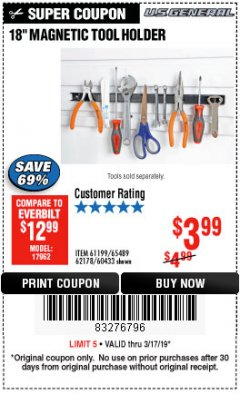 "Harbor Freight Coupon 18"" MAGNETIC TOOL HOLDER Lot No. 65489/60433/61199/62178 Expired: 3/17/19 - $3.99"