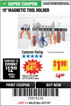 "Harbor Freight Coupon 18"" MAGNETIC TOOL HOLDER Lot No. 65489/60433/61199/62178 Expired: 4/21/19 - $1.99"
