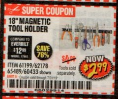 "Harbor Freight Coupon 18"" MAGNETIC TOOL HOLDER Lot No. 65489/60433/61199/62178 Expired: 7/31/19 - $2.99"
