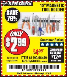 "Harbor Freight Coupon 18"" MAGNETIC TOOL HOLDER Lot No. 65489/60433/61199/62178 Expired: 11/9/19 - $2.99"