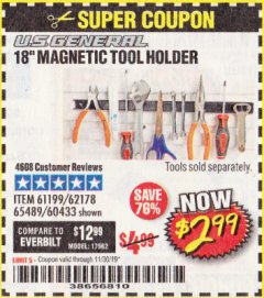 "Harbor Freight Coupon 18"" MAGNETIC TOOL HOLDER Lot No. 65489/60433/61199/62178 Expired: 11/30/19 - $2.99"