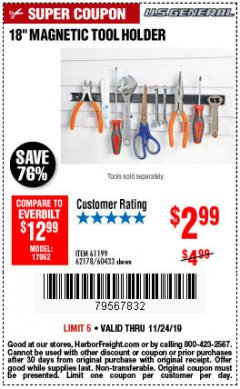 "Harbor Freight Coupon 18"" MAGNETIC TOOL HOLDER Lot No. 65489/60433/61199/62178 Expired: 11/24/19 - $2.99"