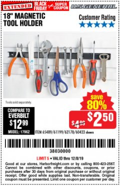 "Harbor Freight Coupon 18"" MAGNETIC TOOL HOLDER Lot No. 65489/60433/61199/62178 Expired: 12/8/19 - $2.5"