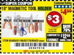 "Harbor Freight Coupon 18"" MAGNETIC TOOL HOLDER Lot No. 65489/60433/61199/62178 Expired: 1/3/20 - $3"