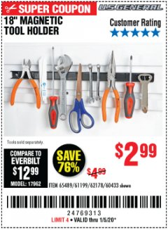 "Harbor Freight Coupon 18"" MAGNETIC TOOL HOLDER Lot No. 65489/60433/61199/62178 Expired: 1/5/20 - $2.99"