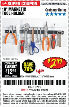 "Harbor Freight Coupon 18"" MAGNETIC TOOL HOLDER Lot No. 65489/60433/61199/62178 Expired: 2/29/20 - $2.99"