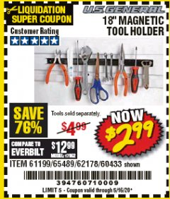 "Harbor Freight Coupon 18"" MAGNETIC TOOL HOLDER Lot No. 65489/60433/61199/62178 Valid Thru: 5/16/20 - $2.99"