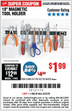 "Harbor Freight Coupon 18"" MAGNETIC TOOL HOLDER Lot No. 65489/60433/61199/62178 Expired: 3/22/20 - $1.99"