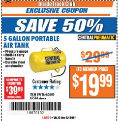 Harbor Freight ITC Coupon 5 GALLON PORTABLE AIR TANK Lot No. 69716/63605/65594 Expired: 9/18/18 - $19.99
