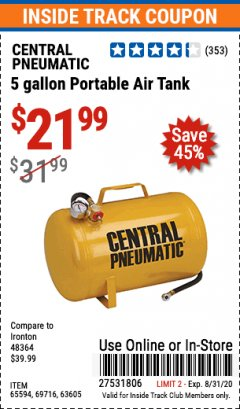Harbor Freight ITC Coupon 5 GALLON PORTABLE AIR TANK Lot No. 69716/63605/65594 Expired: 8/31/20 - $2.99