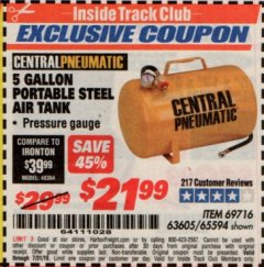 Harbor Freight ITC Coupon 5 GALLON PORTABLE AIR TANK Lot No. 69716/63605/65594 Expired: 7/31/19 - $21.99